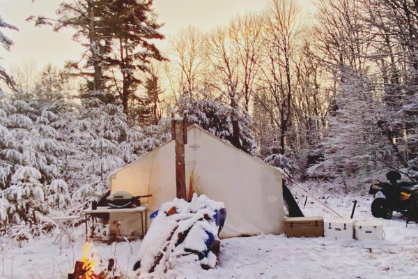 Northwoods Mom Winter Camp Wisconsin Sheridan Tent Canvas Wall Tent